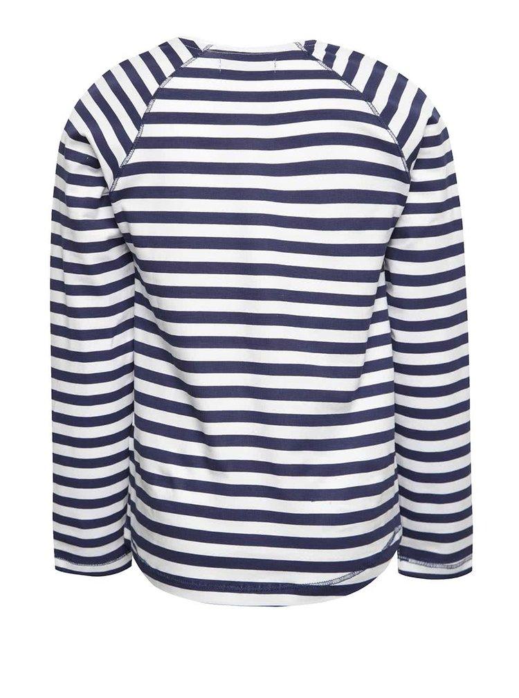Tmavě modré pruhované holčičí tričko s potiskem a dlouhým rukávem 5.10.15.