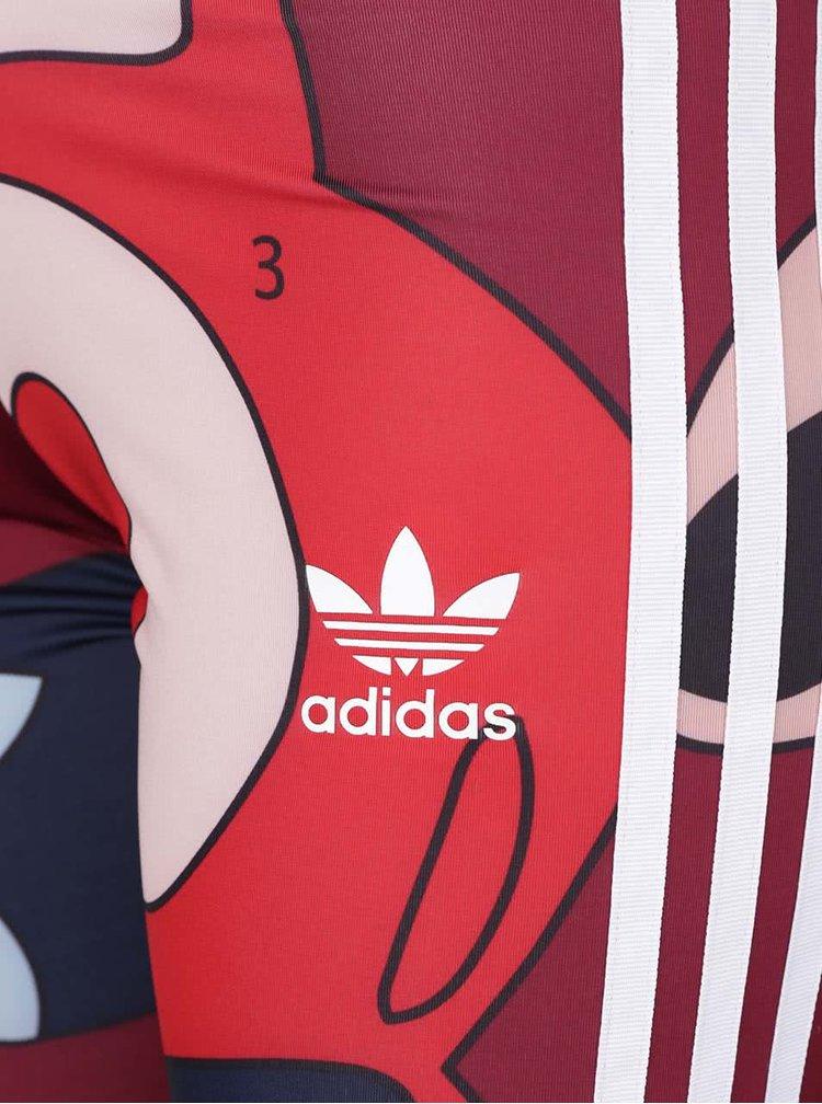 Červené dámské legíny s barevným motivem adidas Originals