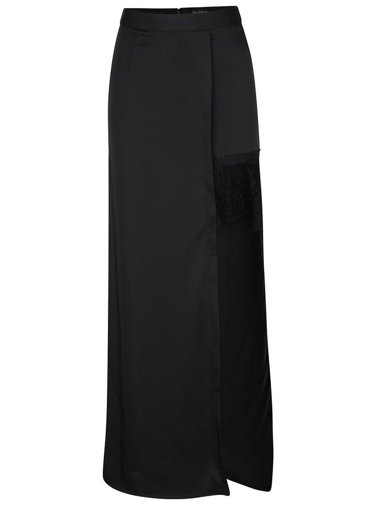 Černá asymetrická maxisukně s krajkou Miss Selfridge