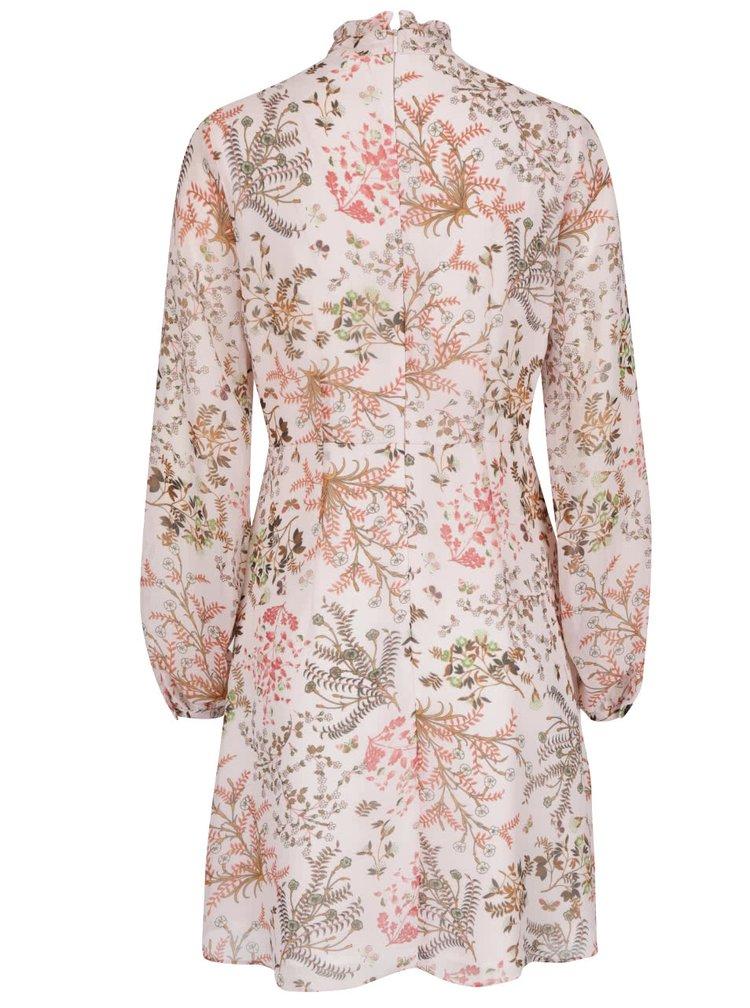 Světle růžové květinové šaty se stojáčkem Miss Selfridge