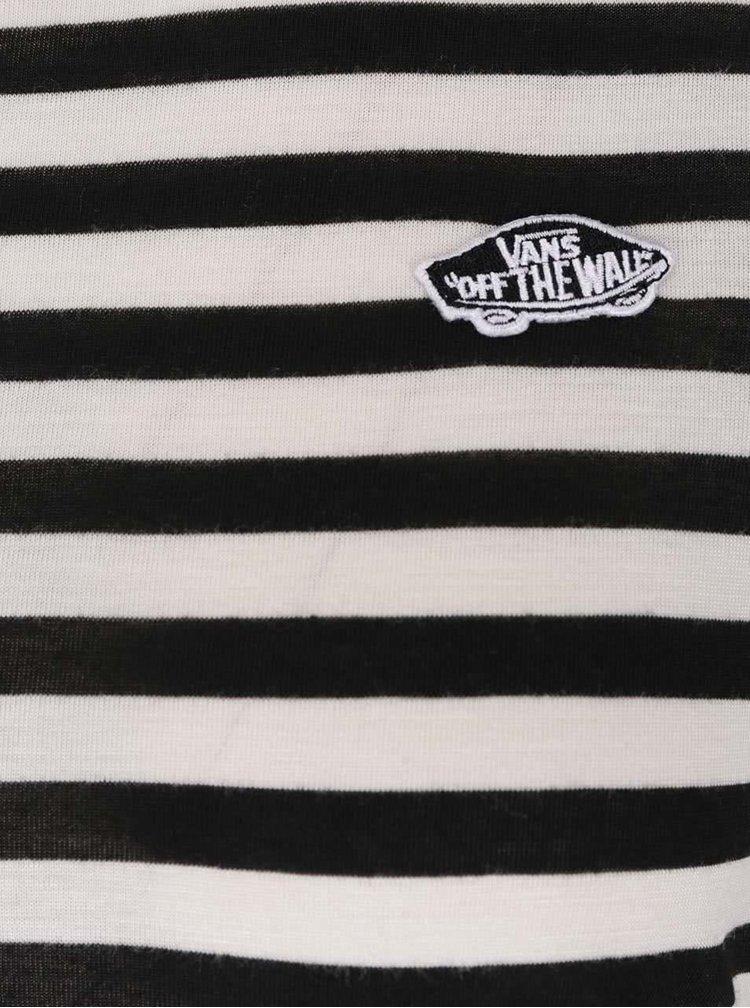Černo-krémové pruhované dámské tričko Vans Tropic Skate Patch 2