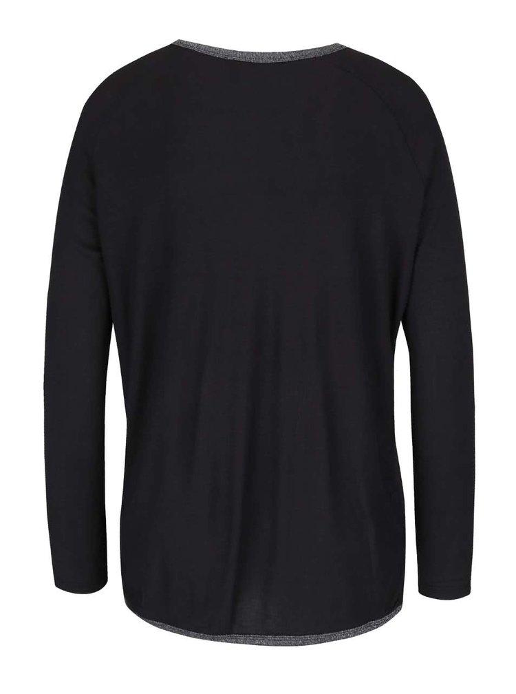 Černé tričko s lemováním ve stříbrné barvě ONLY Cholo