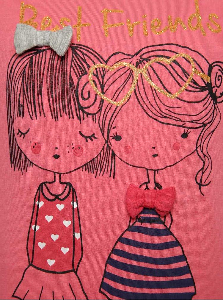 Růžové holčičí šaty s potiskem a dlouhým rukávem 5.10.15.
