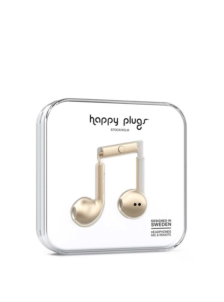 Matná Earbud plus sluchátka ve zlaté barvě Happy Plugs
