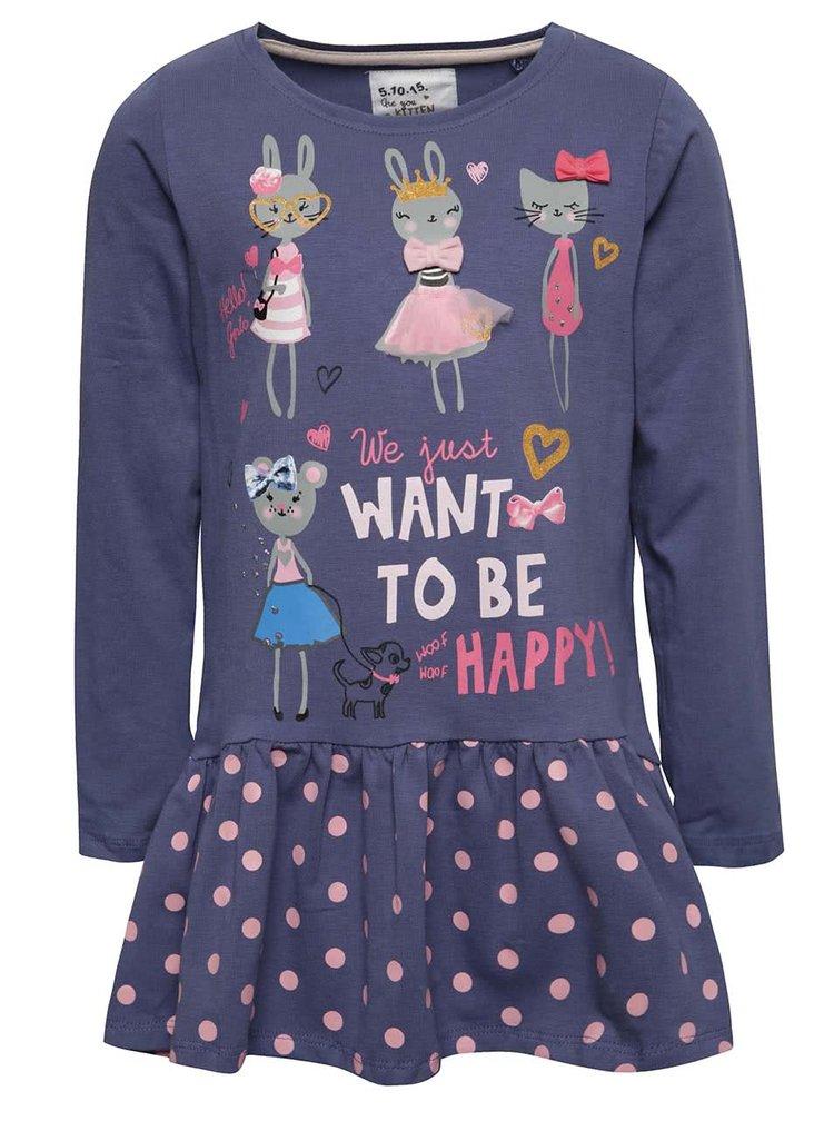 Tmavě modré holčičí šaty s motivem zvířátek a dlouhým rukávem 5.10.15.