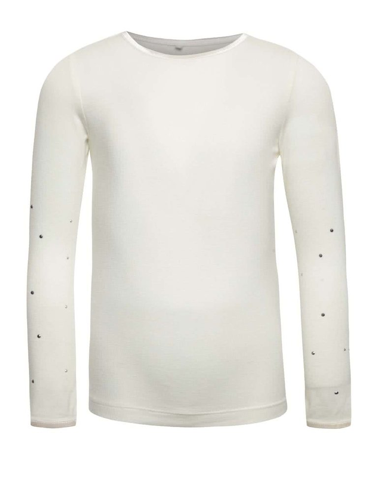 Krémové holčičí tričko s dlouhým rukávem name it Pelissimo