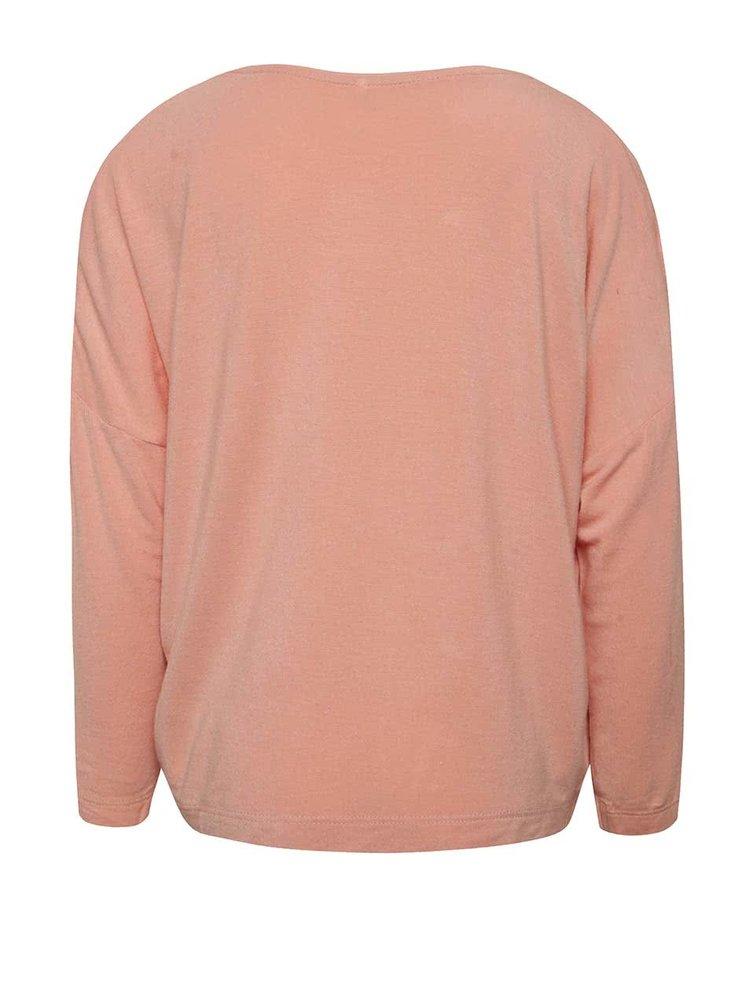 Růžové holčičí žíhané tričko s aplikací name it Kaitlyn