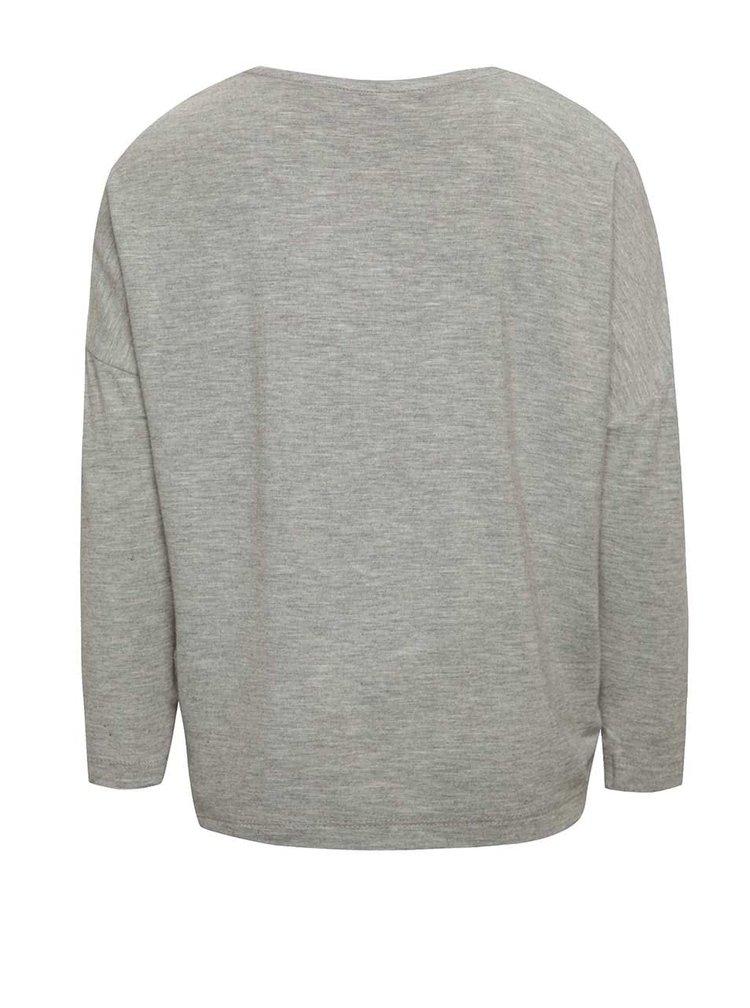 Sivé dievčenské melírované tričko s aplikáciou name it Kaitlyn