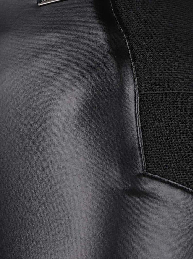 Černé legíny s koženkovou přední částí VERO MODA Stronger