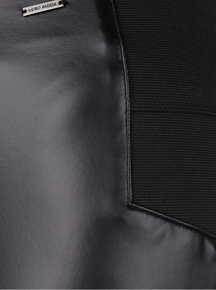 Colanți negru cu gri închis din imitație de piele VERO MODA Stronger