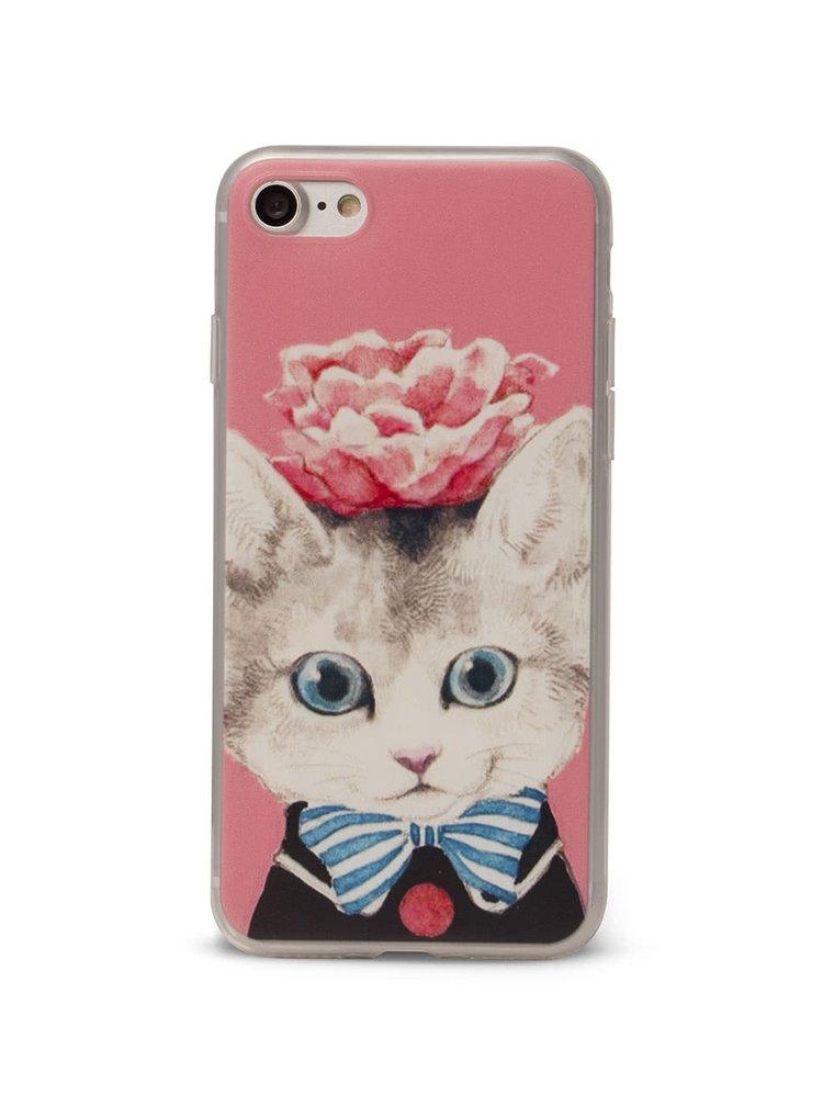 Růžový ochranný kryt na iPhone 7 Epico Cat & Roses