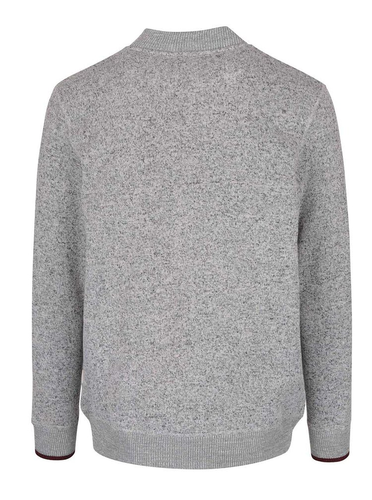Sivá melírovaná mikina na zips Jack & Jones Texture