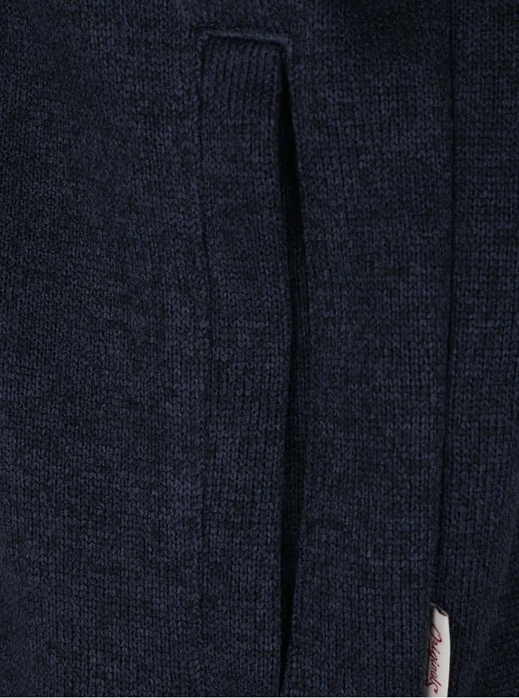 Tmavě modrá žíhaná mikina na zip Jack & Jones Texture