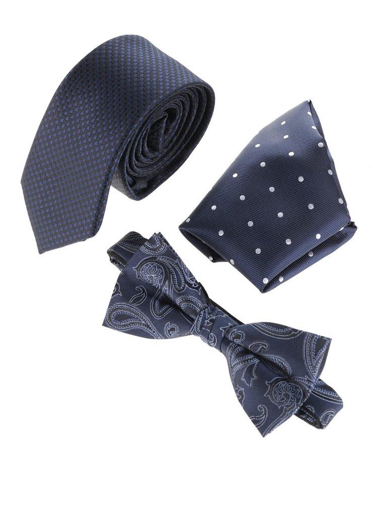 Tmavomodrá súprava kravaty, motýlika a vreckovky Jack & Jones Jacnecktie