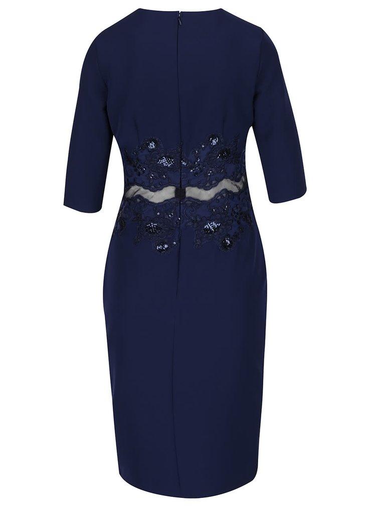 Tmavě modré šaty s 3/4 rukávy Little Mistress