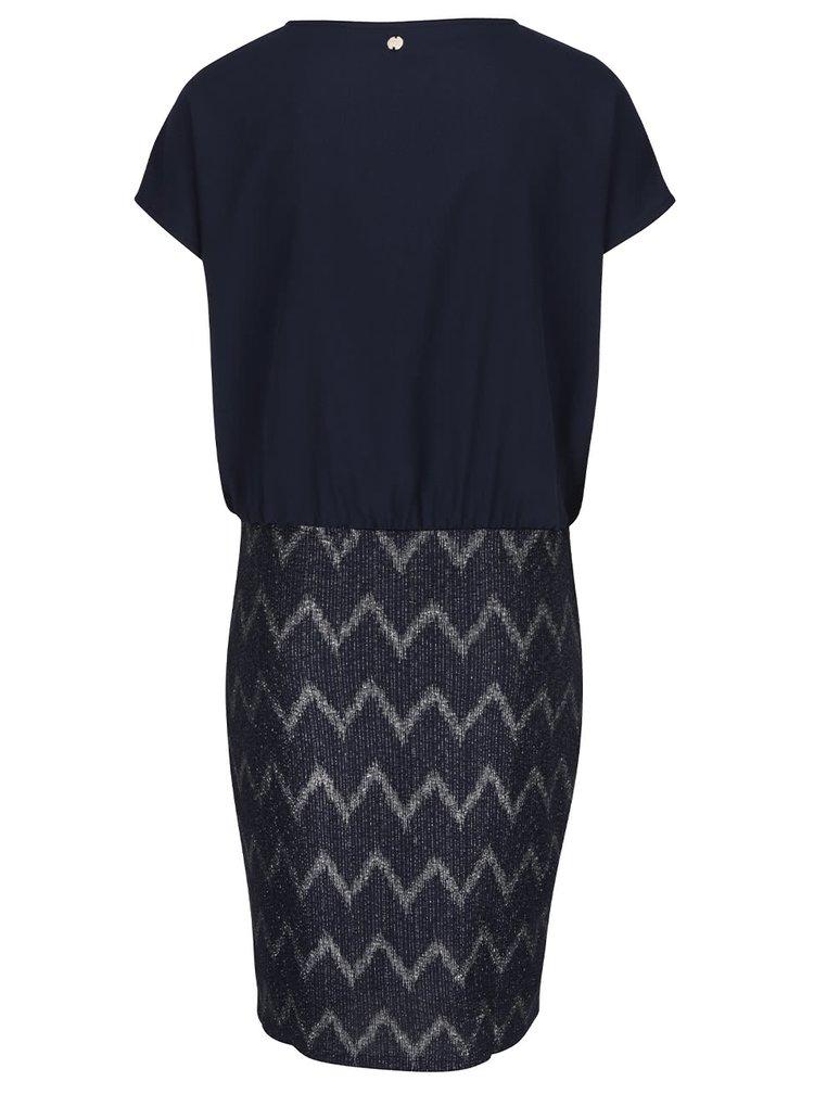 Tmavě modré šaty se vzorem ve stříbrné barvě ONLY Ziva