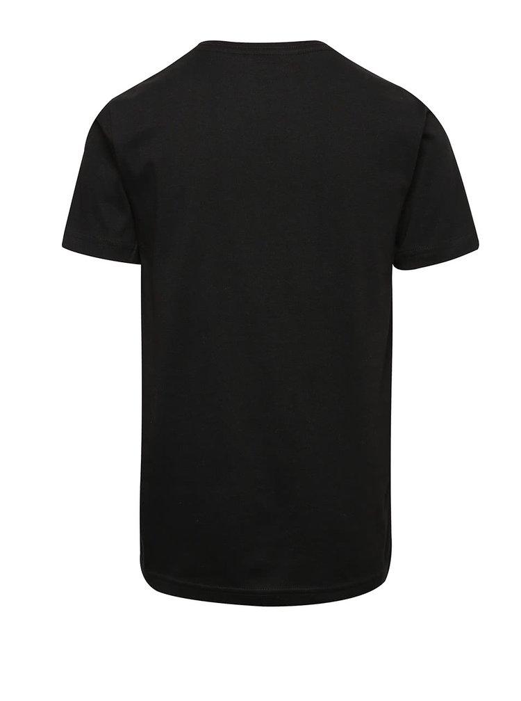 Čierne chlapčenské tričko s krátkym rukávom a potlačou Quiksilver