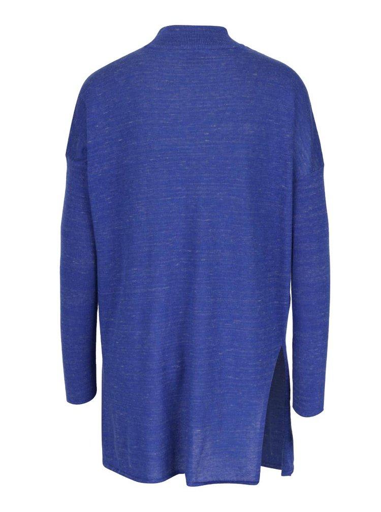 Tmavě modrý žíhaný volnější svetr s nízkým rolákem VERO MODA Ludwig