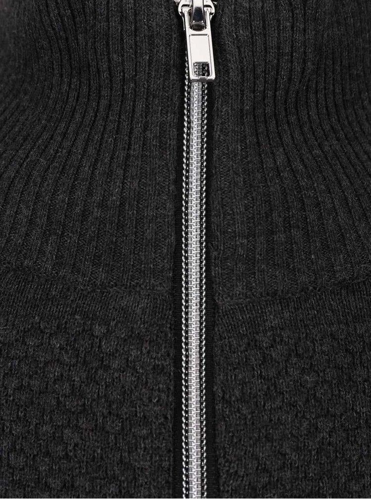 Tmavě šedý svetr na zip Jack & Jones Arto