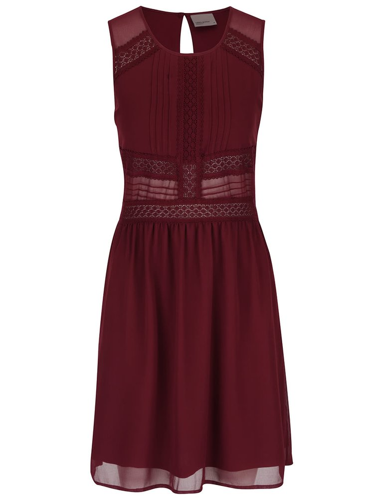 Vínové šaty s čipkovanými detailmi VERO MODA Ladylike