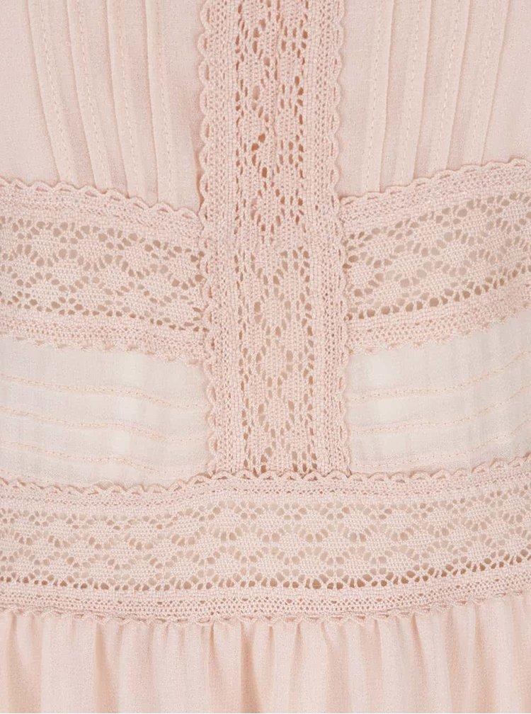 Starorůžové šaty s krajkovými detaily VERO MODA Ladylike