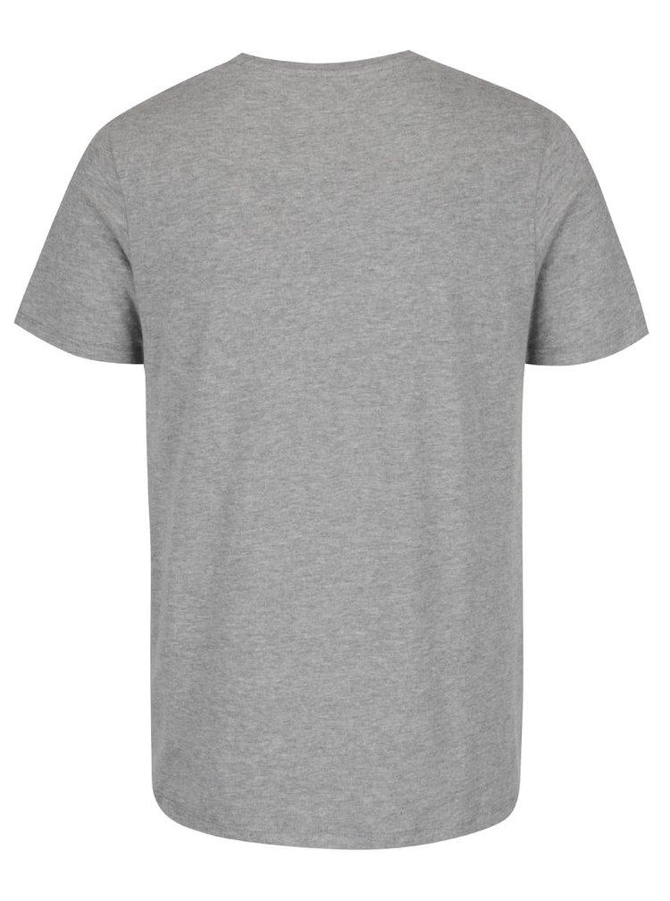 Šedé žíhané triko s potiskem Jack & Jones Sway