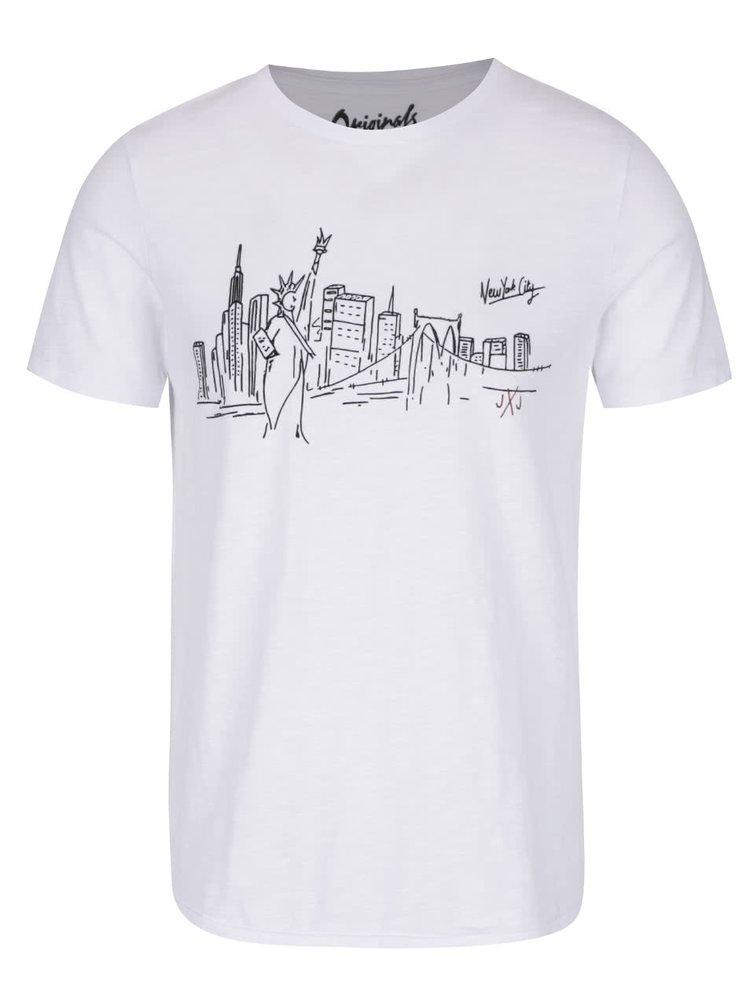 Bílé žíhané triko s potiskem Jack & Jones City