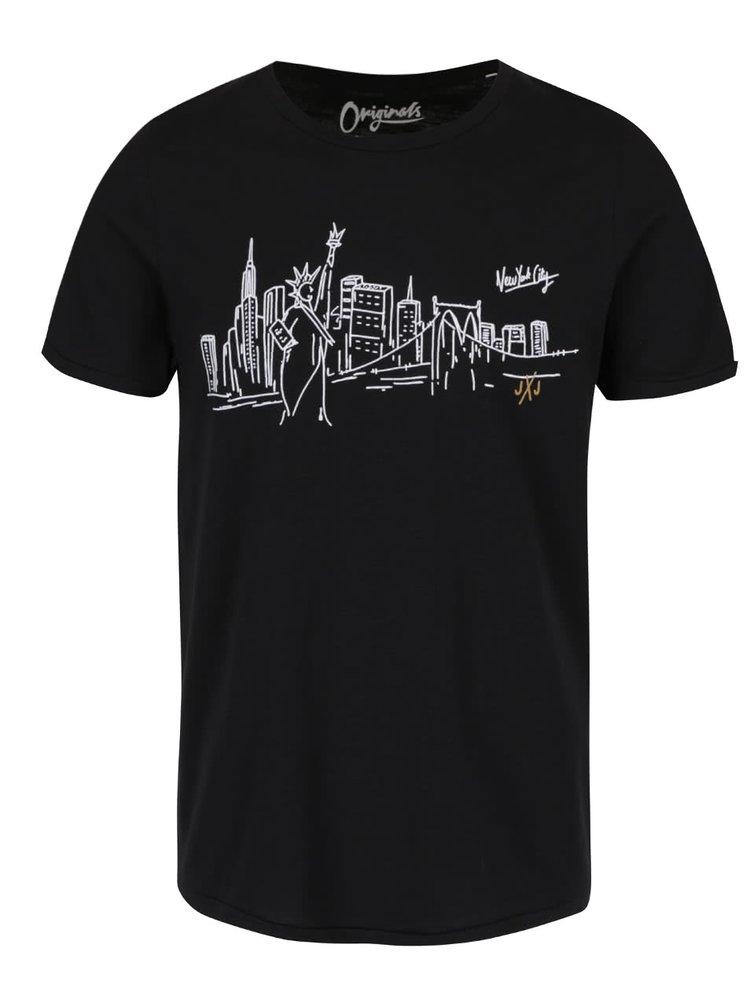 Čierne melírované tričko s potlačou Jack & Jones City