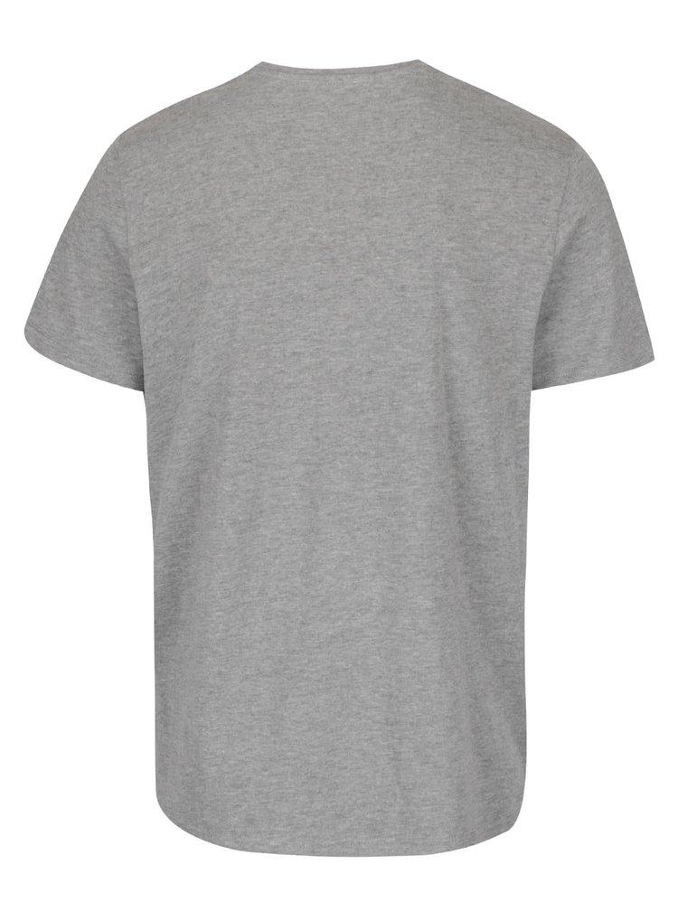 Šedé žíhané triko s potiskem Jack & Jones Richard