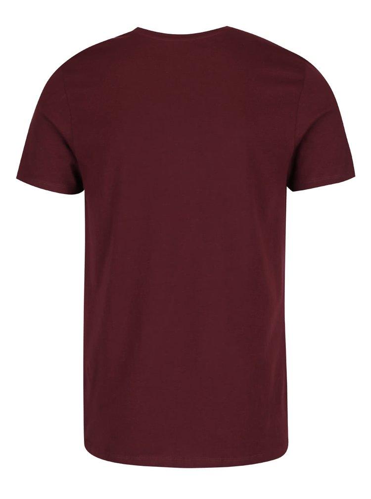 Vínové triko s potiskem Jack & Jones Sway