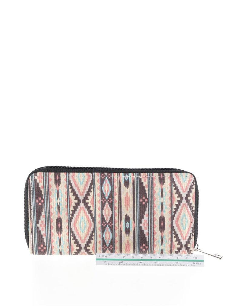 Hnědo-krémová peněženka s aztéckým vzorem Haily´s Ethno