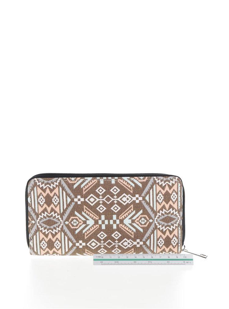 Růžovo-hnědá vzorovaná peněženka Haily´s Ethno