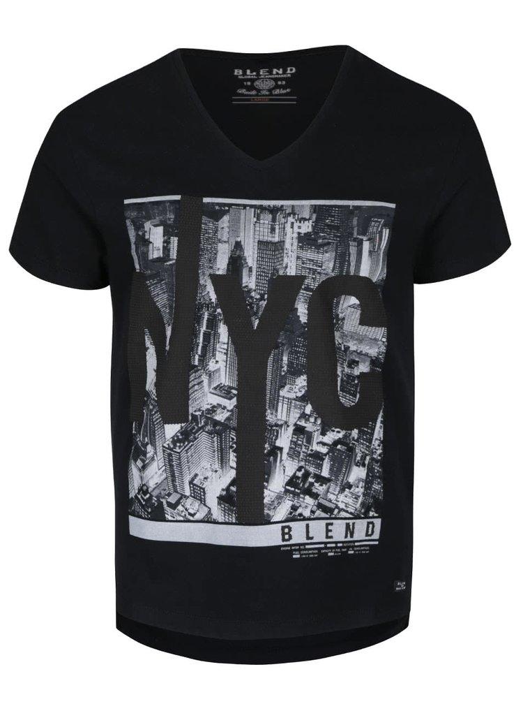 Čierne tričko s krátkym rukávom a potlačou Blend