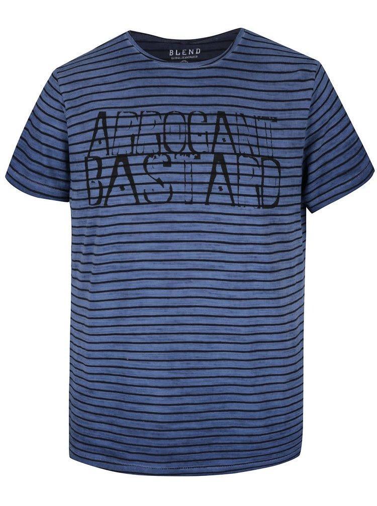 Černo-modré pruhované triko s potiskem Blend
