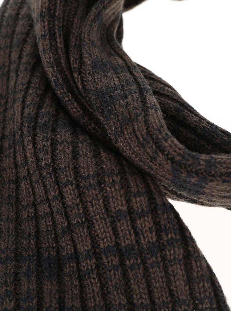 Fular maro cu negru Blend cu model striat