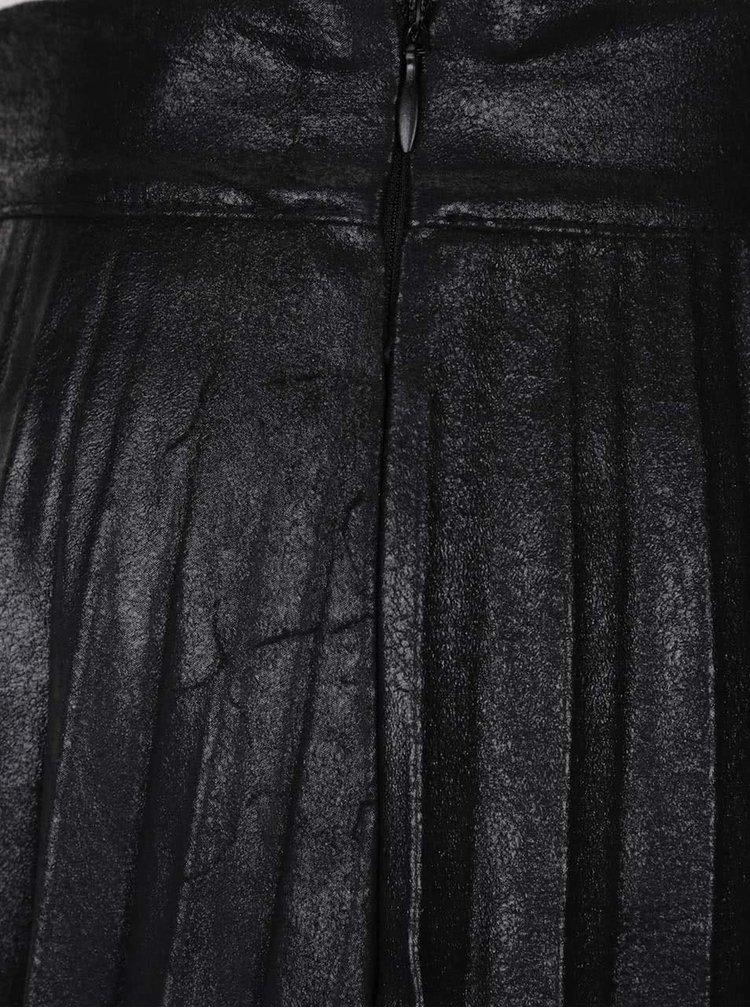 Černá lesklá plisovaná sukně Alchymi