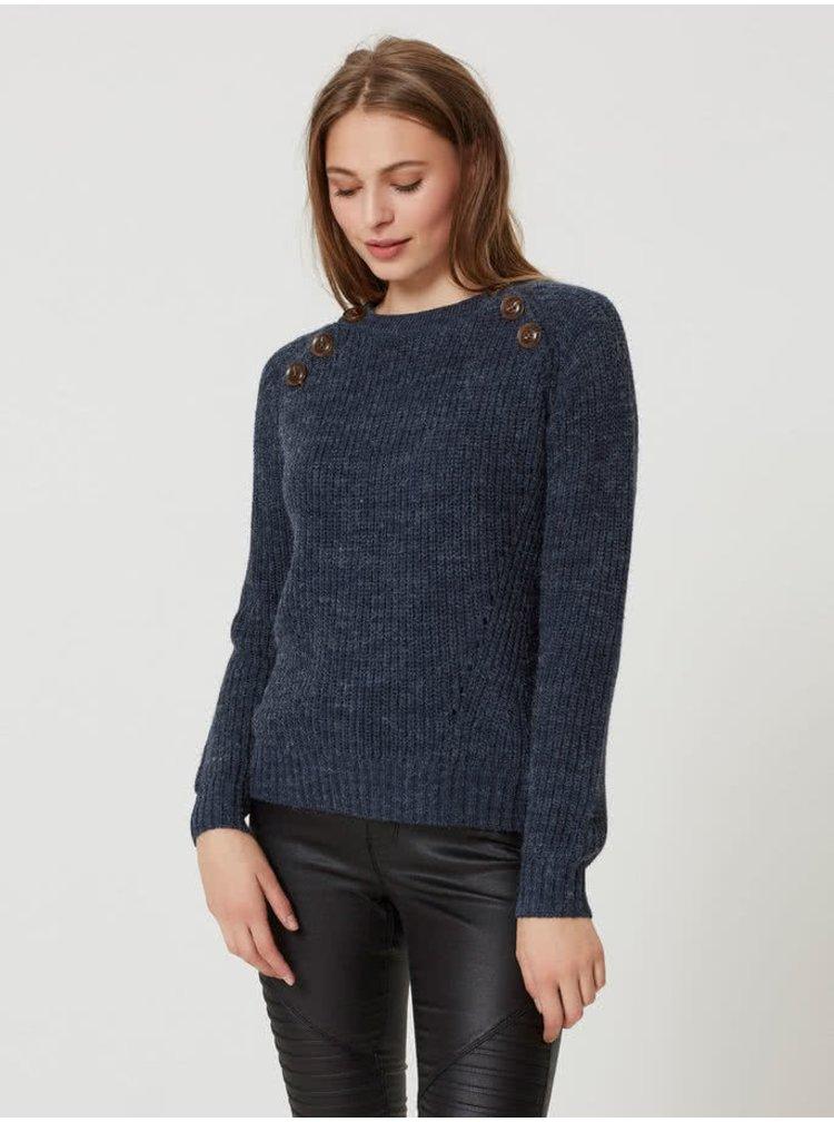 Tmavě modrý žíhaný svetr s ozdobnými knoflíky VERO MODA Joya