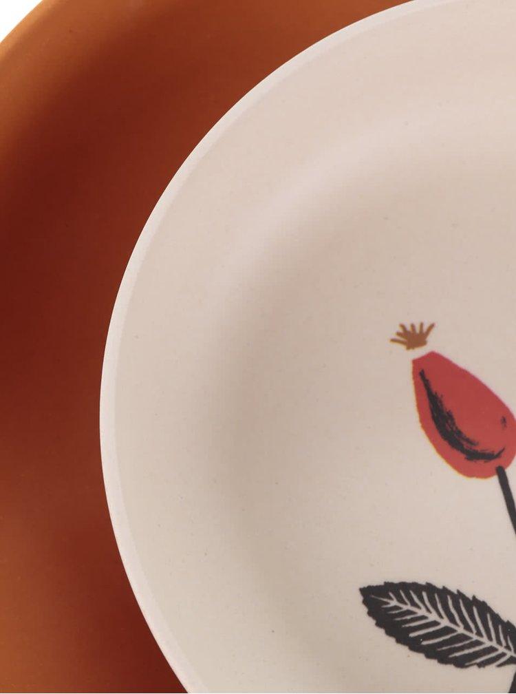 Set de 2 boluri Roseship Magpie alb/portocaliu