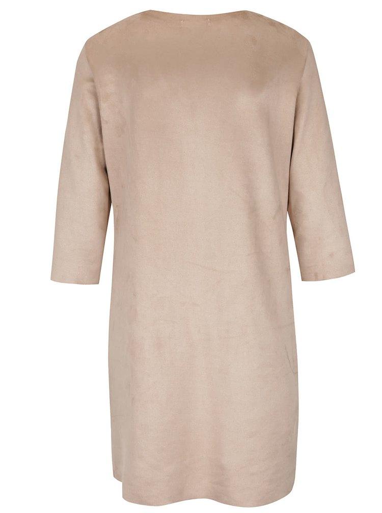 Béžové sametové šaty s kapsami Alchymi