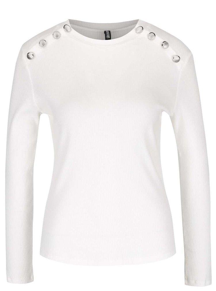 Krémové rebrované tričko s ozdobnými gombíkmi Haily´s Rina