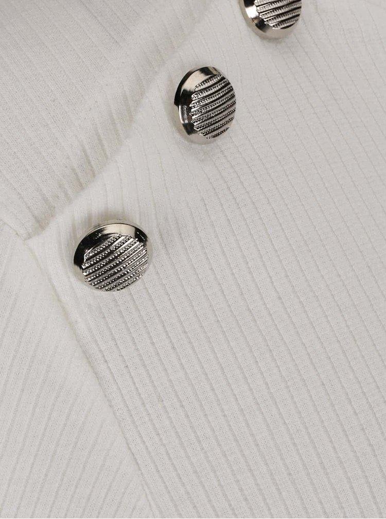 Krémové žebrované tričko s ozdobnými knoflíky Haily´s Rina