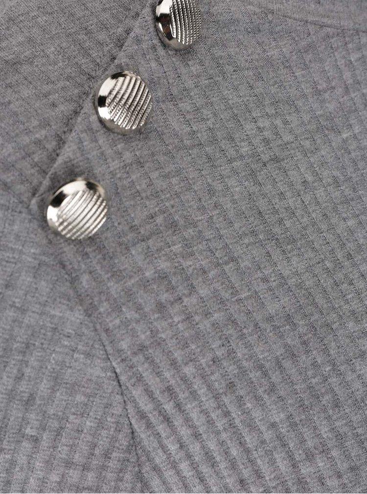 Sivé rebrované tričko s ozdobnými gombíkmi Haily´s Rina