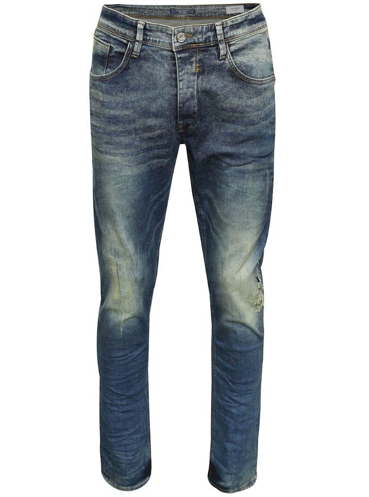 Modré vyšisované slim fit džíny s potrhaným efektem Blend