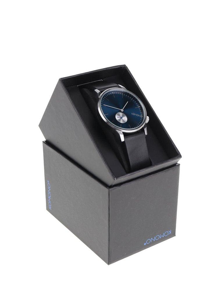 Ceas unisex din piele negru & albastru - Komono Winston Subs