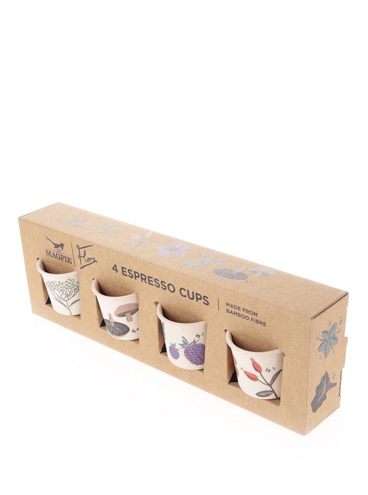 Set de 4 cesti Espresso Magpie cu imprimeu
