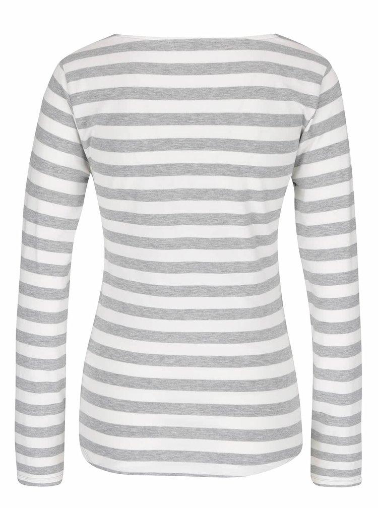 Šedo-krémové pruhované tričko s dlouhým rukávem Haily´s Tina