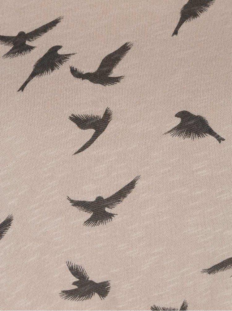Béžové tričko s motivem ptáků a 3/4 rukávy Haily´s Hilly