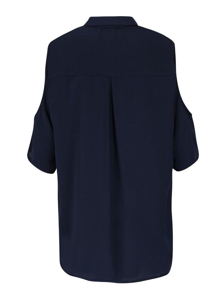Tmavě modrá halenka s průstřihy na ramenou Alchymi Sahlia