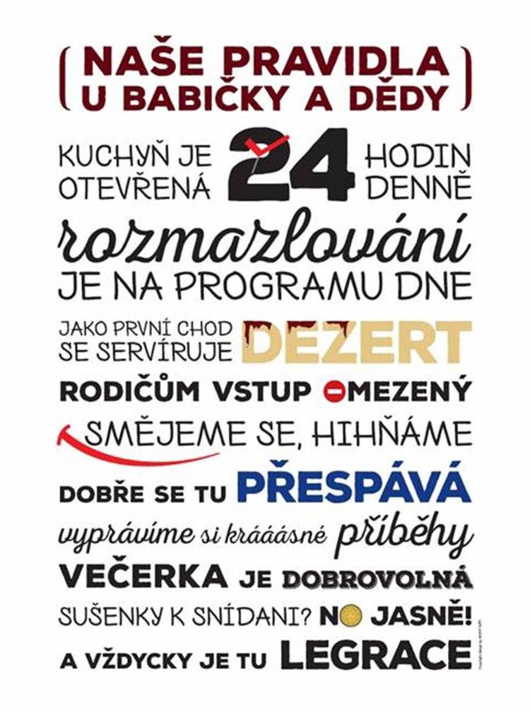 Bílý plakát HEZKÝ SVĚT Babi/Děda