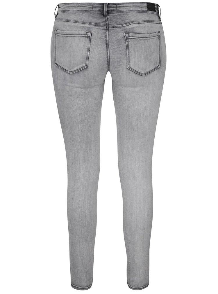Šedé skinny džíny s vyšisovaným efektem TALLY WEiJL